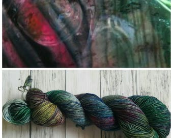 Hand Dyed Yarn, Muscovite, Single Ply Merino and Stellina, Sparkle, Perfect for Shawls and Lightweight Accessories - Charred Tourmaline