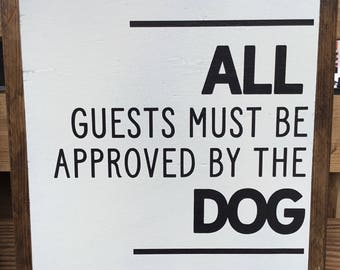 Approved by the dog framed sign
