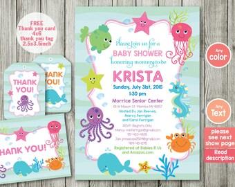 Ocean   Baby Shower Invitation   Baby Shower   Ocean Birthday   Boy Gender  Girl Invitation
