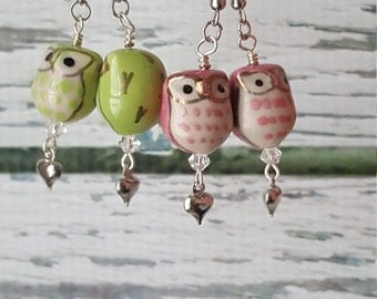 Owl Always Love You, Lovely Owl Earrings, Heart Earrings, Anniversary Gift, Gifts For Her, Free Shipping