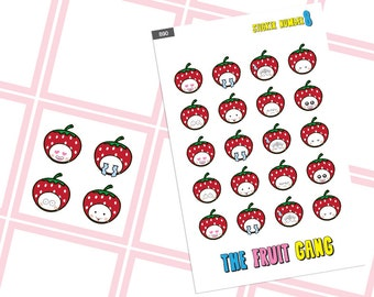 Emoji Strawberry The Fruit Gang planner sticker stickers,emotion of the day sticker, cute planner accessories, functional planner stickers