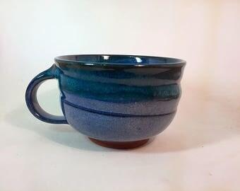 Soup mug, cappucino mug, pottery soup mug, ceramic soup mug, blue soup mug, stoneware soup mug, wheelthrown soup mug, handmade soup mug