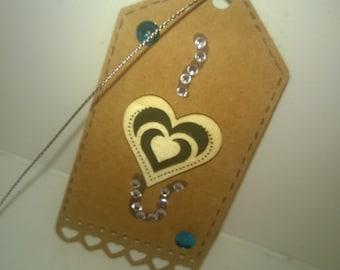 Valentine Kraft gift tag - black and diamantes