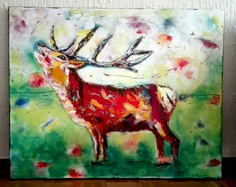 The roaring stag in acrylic on 1 b canvas (slightly warped so special) 100 x 80 modern technology