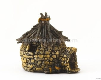 Miniature Fairy Garden House Twig Roof, Miniature House, Fairy House, Gnome House
