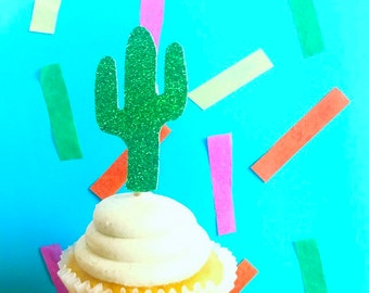 Glitter Cactus Cupcake Toppers, Tropical fiesta, Fiesta Cupcake Toppers, Fiesta Decor, Cactus Decor ,Fiesta Party, baby first fiesta