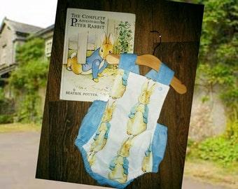 Handmade children's baby inspired Peter rabbit romper suit