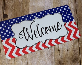 Patriotic Welcome Sign - Fourth of July Sign - Wreath Sign - Aluminum Sign - Wreath Attachment - Wreath Accent