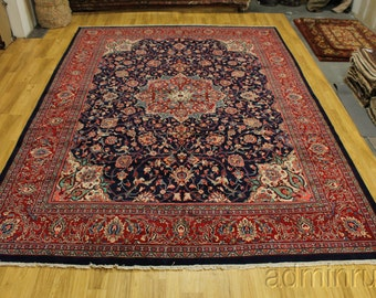 10'5X14'6 Plush Oversized Navy Blue Mahal Persian Oriental Area Rug Sale 11X15