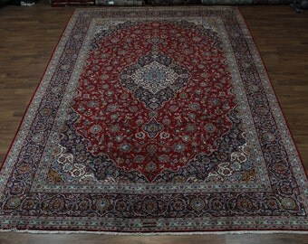 Traditional Palace Size Signed Red Kashan Persian Rug Oriental Carpet 11'6X16'