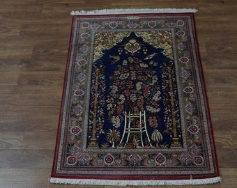Masterpiece Tree of Life Signed Ghom Qom Persian Silk Oriental Rug Carpet 3'4X5