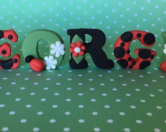 Edible fondant LADYBUG cake toppers. Girls birthday. Party. Cupcake toppers.