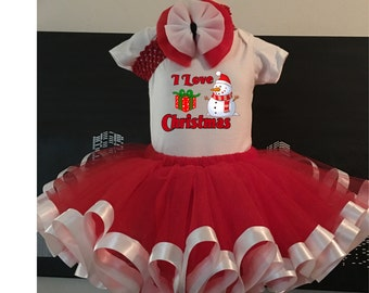 I Love Christmas Tutu, Infant, Toddler, Red and White with headband, Holiday, Snowman, Dress Up, Bodysuit or Toddler Shirt, Hair Bow Set