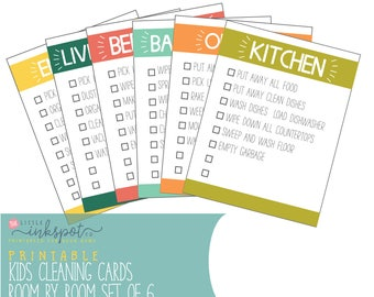 Kids Chart - Cleaning Cards Kids Cleaning Cards Printable Chore Cards Room by Room Printable Kids Chore Cards Digital File Instant Download