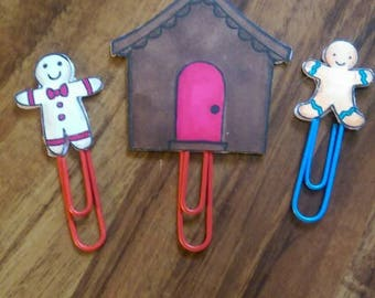 Gingerbread house and Gingerbread men paper clips