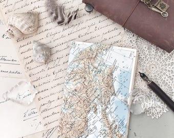 Vintage Junk Journal | Mixed Media Journal | Vintage Junk Notebook | Notebook Insert | Travellers Notebook Insert  |  Map