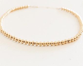Gold Bead Choker / Gold Choker / Gold Bead Necklace / Gold Fill
