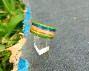 Recycled Skateboard Ring wooden ring, wooden band, wood ring, wedding ring