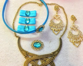 1 Set Princess Jasmine's costume set of Necklace, earrings,3 Bands, Brooch, Hair band.