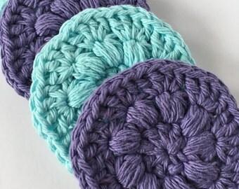 Reusable Face Scrubbies - Set of 6, 12 or 20 - 100% Cotton Bath Accessories (Crochet makeup wipes, eco-friendly, green living)