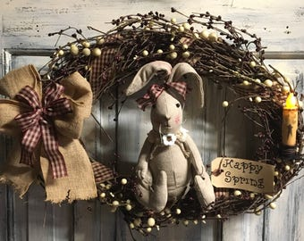 18 inch primitive country oval grapevine Easter bunny wreath