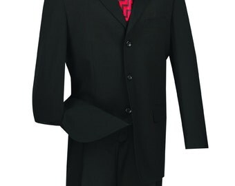 Classic-fit men's suit 2 piece suit 3 bottons solid black suits new with tag