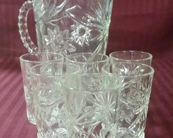 Vintage Star of David pitcher and juice glasses. Anchor hocking. Mid century