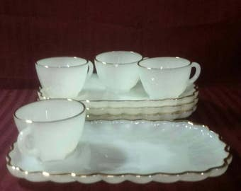 Fire-King milk glass snack trays with cups. Anchor hocking. Gold trim. Set of 4. 2 sets available.