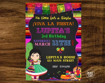 Mexican Invitation - Mexican Party Invitation - Fiesta Invitation - Fiesta Birthday Invitation. Digital File