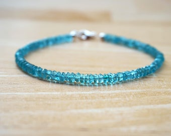 Apatite Bracelet (AAA quality), Sterling Silver Gemstone Bracelet, Blue Bracelet, Gemstone Bracelet, Thin Gemstone Bracelet, Apatite Jewelry