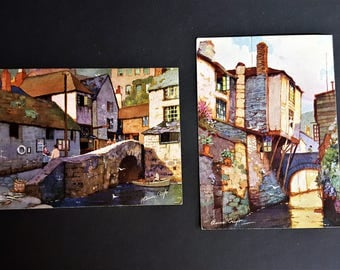 Anne Croft Artist Post Cards Signed the Vivian Mansell Series circa 1930 The Roman Bridge The House on the Props Polperro Printed in England