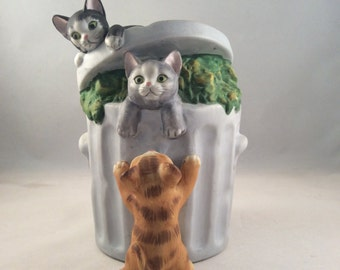 ON SALE:  Mann Cats Playing in Trash Can Music Box