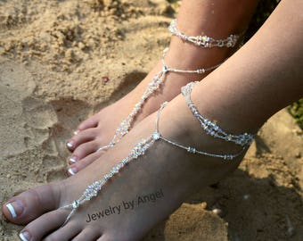 Crystal Wedding Foot Jewelry Slave Anklet Foot Thong Beach Wear Crystal Bridal Barefoot Bridesmaid Gift Bride Foot Jewelry Beach Wedding