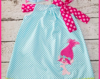 New Sweet Poppy Troll Pilowcase dress Aqua polka dot and Hot pink