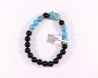 Wonderful Black Onyx and Turquoise bracelet.