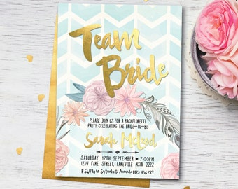 Boho bachelorette invitation, bachelorette party invitation, boho hens invitation, hens party invitation, boho bachelorette party (Sarah)