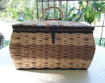 Vintage Sewing Basket, Woven Made in Japan