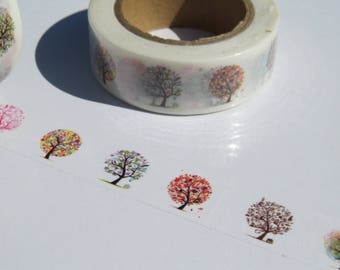 Trees Washi Tape, Colourful Tree Design Tape, Gift Wrap, Planner Tape, Crafting Tape
