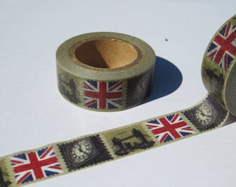 London Washi Tape / Retro Vintage Design Union Jack, Big Ben, Tower Bridge Washi Tape