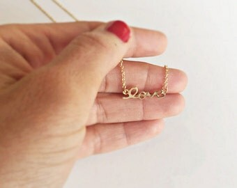 Love and Hope necklace in gold, gilded necklace