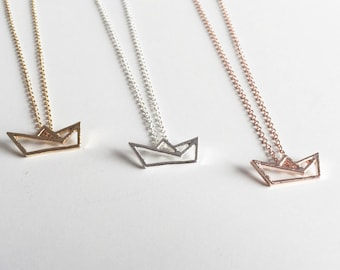 Origami necklace boat gold, necklace ship