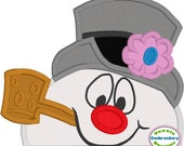 Frosty Snowman Peeker Applique 5x7 Machine Embroidery Design