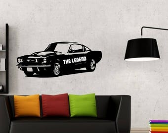 Ford Mustang with quote vinyl Wall Art