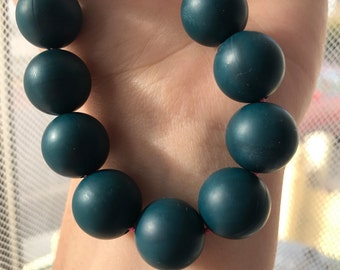Silicone teething necklace/nursing necklace: teal cluster