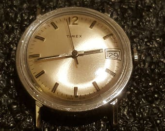 1979 Timex Mechanical Silver Tone Watch w/Date (serviced and restored)