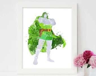 Doctor Doom print,Fantastic Four dr doom watercolor,marvel comics,fantastic 4 poster,marvel villains,dr doom, dr doom poster, marvel dr doom