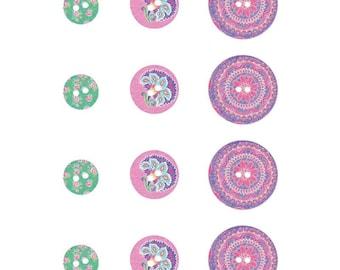 Assortment of 12 wood Flower Power buttons - buttons Boho - button wood - 14002356