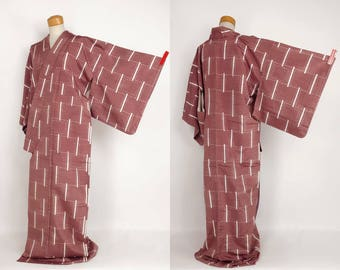Japanese M51002 Kimono Brown Pongee Tsumugi Vintage