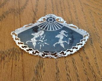 Silver Siam Fan Brooch