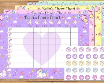 Unicorn Chore Chart, Chore Chart, Reward Chart, Chore, Chores, Weekly Chore chart, Kids Chore Chart, Toddler Chore Chart, Unicorn